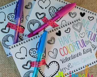 INSTANT DOWNLOAD Colorful Printable  Valentine for Valentines Day