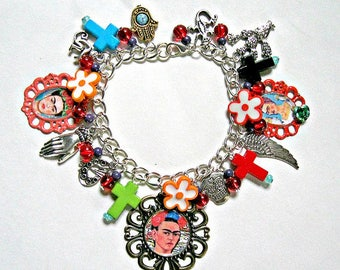FRIDA Kahlo bracelet charms flowers Colorful Day of the dead dia de LOS muertos mexico folk altered art OOAK Collectible popular items