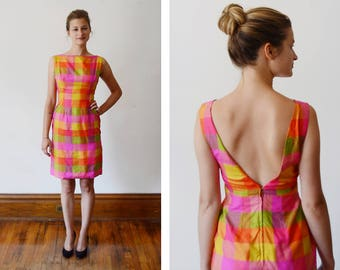 Hot Pink Checkered 1960s Fitted Dress - XS