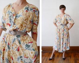 1980s Egyptian Novelty Print Dress - XL