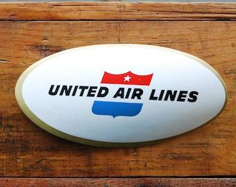 Vintage United Air Lines Travel Decal Gummed Sticker