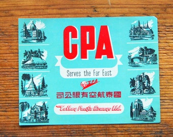 Vintage CPA Cathay Pacific Airways LTD Travel Decal Gummed Sticker