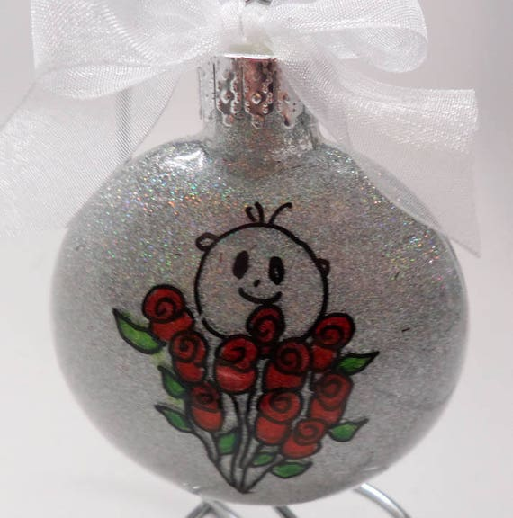Red Rose Christmas Ornament can be Personalized