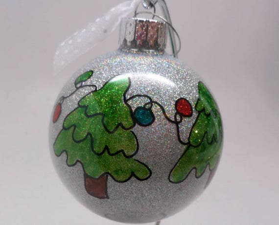 Christmas Ornament with trees and lights can be personalized