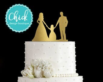 Couple Holding Hands with Little Girl, Bride and Groom Wedding Cake Topper Hand Painted in Metallic Paint
