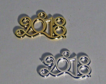 10pcs 2018 Metal Charms Polished Silverplated or Brass Plated Luck Charm, 2018 Favors - 2018 Charms - New Year Favors