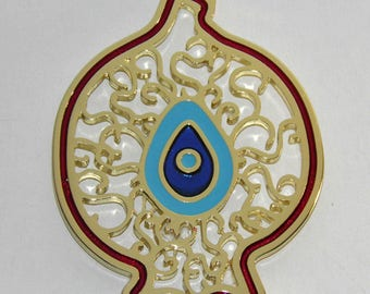 Gold Tone Metal Pomegranate Ornament 8.5cm - Polished Brass Plated - Evil Eye with Enamel Color - Lace Design - Greek - Four Colors