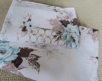 BLUE ROSES barkcloth,vintage barkcloth, 1950s floral fabric, large panel barkcloth, romantic decor,crafting fabric
