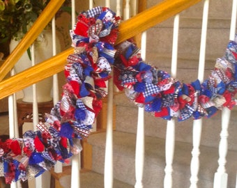 7 foot Traditional Sparkely Red White Blue Americana Garland,Fabric garland,Party Decoration,Rag Garland,4th of July Decoration,Patriotic
