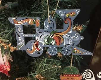 Norwegian rosemaled train ornament