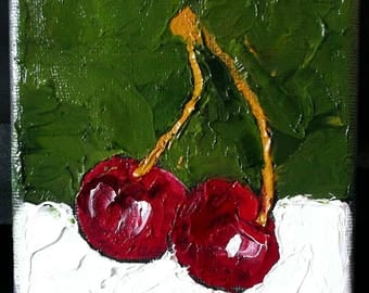 Miniature Impressionist Oil Painting 4x4 Plein Air California Orchard Cherries Lynne French Art