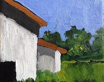 Miniature Impressionist Oil Painting 4x4 Plein Air California Farm BARNS Santa Cruz Landscape Lynne French Art