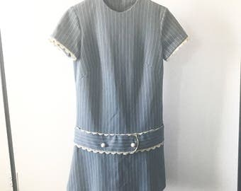 Vintage 60s Powder Blue Lace and Striped Mini Mod Dress
