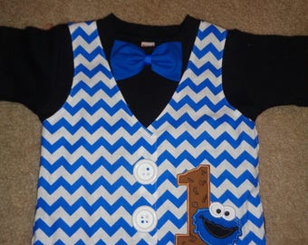 Blue Monster Vest and Bow Tie Birthday Shirt In Black