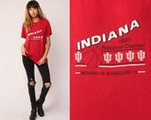 Basketball T Shirt INDIANA HOOSIERS Shirt 1987 University Shirt 80s TShirt Sports Graphic Tee Retro Vintage Red Tee Extra Large xl