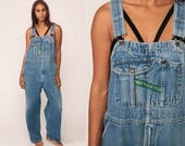 Overalls Pants Bib 90s Denim Pants Jean Dungarees Distressed Wide Leg Baggy Coveralls Long Grunge Hipster Blue Carpenter Medium