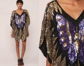 Sequin Shirt Butterfly Top BEADED Blouse 70s Disco Shirt Boho Hippie Purple Gold Festival 80s Sequined Trophy Vintage Small Medium Large