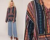 Drug Rug Hoodie Jacket BAJA Pullover Mexican Jerga Hippie Boho Hooded Sweatshirt Ethnic Vintage Blanket Stripe Bohemian Blue Medium Large
