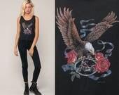 Biker Tank Top 80s Eagle Shirt Camisole Lace Motorcycle Newcastle California Rose Shirt Vintage 1980s Black Rocker Medium