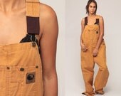 Overalls Baggy Pants Cargo Dungarees Light Brown Suspender Pants 90s Long Wide Leg Jeans Bib Workwear Vintage Extra Large xl