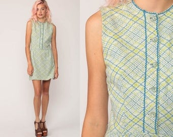 Mod Dress 70s Mini Dress Plaid Button Up High Waist Checkered Print Vintage Twiggy Gogo 1970s Preppy Minidress Sleeveless Small