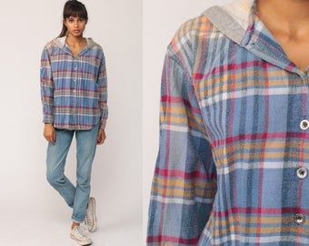 Hooded Flannel Shirt PLAID 90s Grunge Oversized Button Up HOODIE Grunge Top 1990s Long Sleeve Blue Vintage Hood Medium