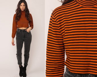 Crop Top Retro Shirt 70s Striped TURTLENECK Long Sleeve Shirt Orange Tee Black Nerd Geek Hipster Tshirt Cropped High Neck Small Medium