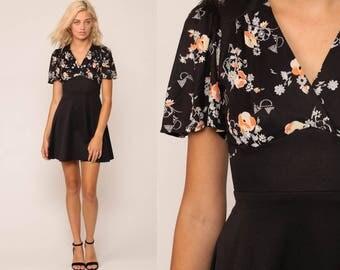 Babydoll Mini Dress Floral Print Dress 70s Boho Empire Waist Black Garden Party Vintage Flutter Sleeve Bohemian V Neck Wrap Extra Small xs