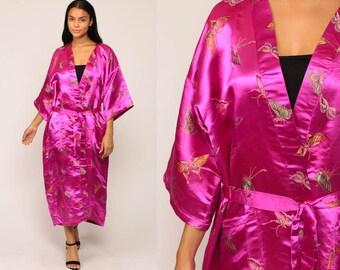Long Satin Robe BUTTERFLY PRINT Robe Asian Kimono Robe Jacket Dressing Gown 90s Bohemian Wrap Vintage Boho Hippie Fuchsia Small Medium Large