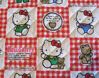 Hello Kitty Sanrio Vintage Fabric Remnant Pre Quilted Half Yard 19 Inch Long 34 inch Wide Fabric Please See Details