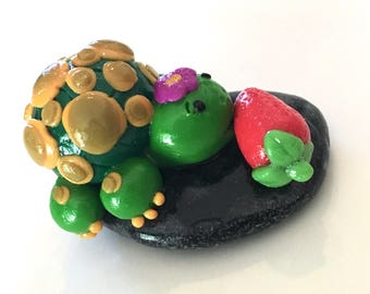 Green Polymer Clay Turtle with Strawberry