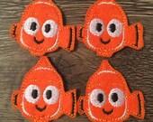 Clown Fish Felties Set of four - Fish Felties - Orange Fish Feltie - Finding Nemo Inspired