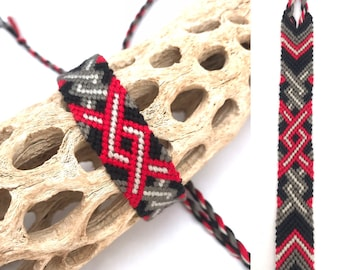 Friendship bracelet - black - red - handmade - macrame - knotted - woven - center pattern - embroidery floss - cotton - string - thread