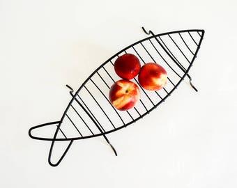 Vintage 1950s Decorative Basket / Mid Century Frederick Weinberg Style Black Enamel Wire Fish Bowl