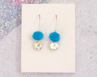 Blue Drop Pom Pom Earrings with Blue and Yellow Geometric Triangles disc