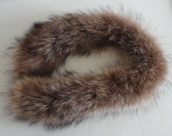 80s  Genuine Raccoonn Fur Hood Border Vintage