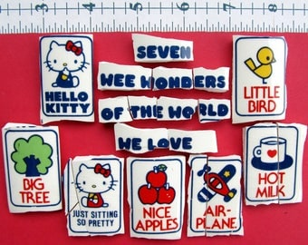 Seven Wee Wonders of the World We Love - Hello Kitty broken China Mosaic Tiles