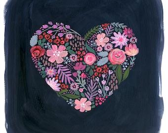 Heart-A-Flutter - PRINT, gouache painting, heart painting, girl art, nursery art, flower art