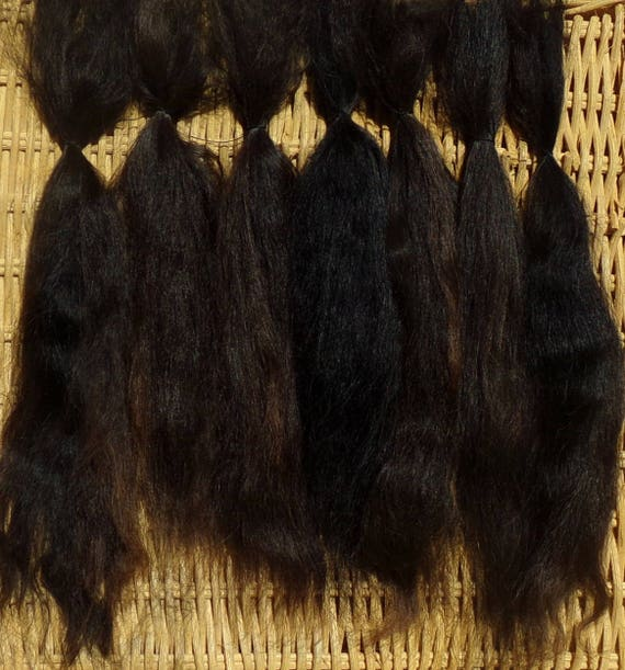 Combed Suri Alpaca Doll Hair Natural Brown Black 0.3 of an ounce 6-7 inches