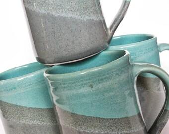Set of 4 Handmade Ceramic Mugs - Aqua Gray Pottery handmade coffee mug - Ceramic handmade aqua blue coffee mugs