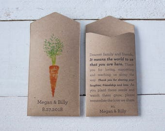 Carrot Personalized Seed Packet Wedding Favor – Let Love Grow – Custom Seed Packet – Seed Envelope Wedding Favors – Many Colors Available