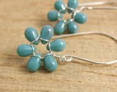 Earrings with TinyTurquoise Luster Glass Teardrop Flowers on Large French Earring Wires