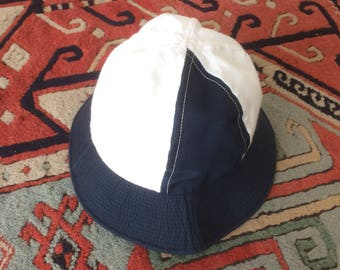 Vintage 1970's Bucket Hat, Athletic Cap, Navy and White