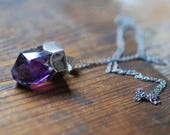 Dollybird Natural Amethyst Crystal Amulet Necklace