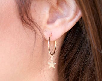 NEW! Dainty Endless Hoop Gold Earrings with Star Charm.