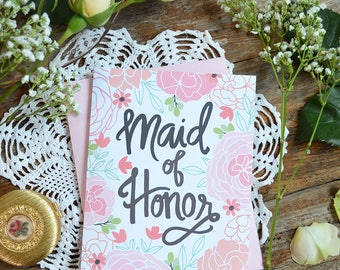 Maid of Honor Card, Wedding Party Card, Floral Wedding, Thank You Card, Greeting Card, Notecard, Floral Notecards, Bridal Party, Note Card