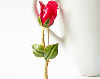 Vintage Red Rose Brooch, Red Rose Enamel Brooch, Vintage Enamel Brooch - LM , Costume Jewelry,  Vintage Valentine Jewelry Gift