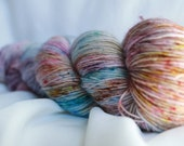 FLYING HIGH ( Speckled Stellina)hand dyed super wash merino single sock (100 grams) 400 yds free shipping