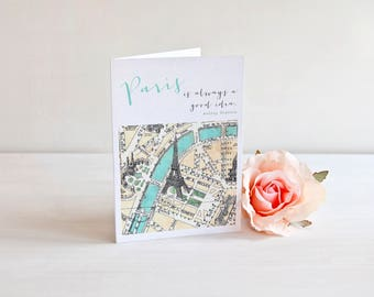 Paris is Always a Good Idea Note Cards with Teal Envelopes (A1) (set of 5). Audrey Hepburn Paris Quote Cards. Stocking Stuffer. Gift Giving