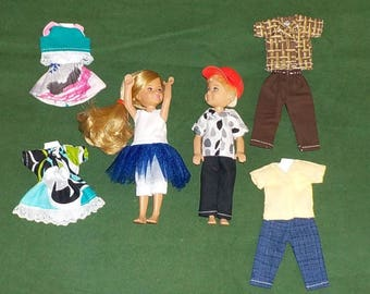 CHLSE-D-2) 5 inch Chelsea and 5 inch Darin dolls and 3 outfits each